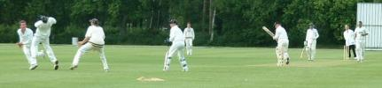 Bournemouth's Richard Scott is brilliantly caught in the slips by Peter Hammond of the Hampshire Academy