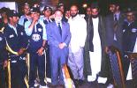 From left: Planning Minister Ahmad Yousaf Nooristani (suit), President of National Sports Committee Mohammad Anwer Jigdalak, Ministerial Advisor Shahzada Masood, ACF President Allah Dad Noori and others during the ACF Annual General Meeting held in Kabul, 25 July 2003.