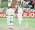 Scuderi watches in delight as Lathwell walks back to the pavilion after being trapped LBW, PPP healthcare County Championship Division One, 2000, Somerset v Lancashire, County Ground, Taunton, 12-15 July 2000(Day 2).