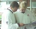 Chapple & McKeown read what has been written about Flintoff in one of the morning papers, PPP healthcare County Championship Division One, 2000, Derbyshire v Lancashire, County Ground, Derby, 07-10 July 2000 (Day 4).