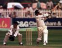 9 May 2000. Ian Harvey of Gloucestershire strikes another boundary, with Shaun Humphries of Sussex behind the stumps during the Benson & Hedges Quarter Final match at the County Ground at Hove in Sussex.
