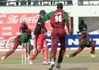Campbell guides Cuffy unerringly into Gayle at slip