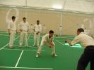Mark Garaway, Hampshire's Youth developement Office, takes practice at the opening of the Rose Bowl's state-of-the-art Indoor cricket school.