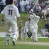 Fairbrother whacks a six over long on at the Blackpool Stanley Park ground, C+G Quarter Final, Blackpool, 25 Jul 2001