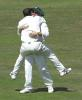 Lehmann and Gough embrace after Gough has got Scuderi out, CricInfo Championship, 27th July 2001, Leeds