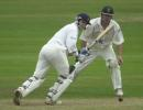 Dowman takes a delivery from Boje at the Grandstand end.  Frizzell County Championship, Derbyshire v Notts, 2002.