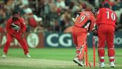 Harden bowled by Muralitharan, Lancashire v Yorkshire, National League 17 Aug 1999