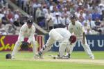 Griffith's stumbles at the wicket with a delivery from Cork