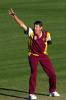 15 Aug 2000: Brendan Creevey of Queensland appeals unsuccessfully for the wicket of Craig McMillan of New Zealand during the New Zealand versus Queensland practice match at Allan Border Field in Brisbane, Australia. Queensland won the game by 23 runs.