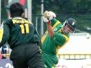 South African batsman Nicky Boje smashes the ball through the offside in the Singapore Challenge 2000. Godrej Singapore Challenge 2000/01, Final Pakistan v South Africa, Kallang Ground, Singapore 27 Aug 2000.
