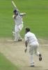 John Morris plays a sumptuous cover drive off Bichel in his second innings of 6, CricInfo Championship, 9th Aug 2001