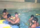 Deepak Chougule, Vinayak Mane and Parthiv Patel in the swimming pool in Adelaide