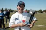 Auckland women's captain Michelle Lynch with the State League trophy. State League Final: Canterbury Women v Auckland Women at Redwood Park, Christchurch, 22 February 2003.