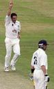 Simon Francis celebrates after taking the wicket of Matthew Maynard, Somerset v Glamorgan, Taunton, August 3, 2004