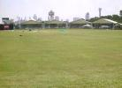 A panoramic view of the Kallang ground with the impressive Singapore skyline as the backdrop
