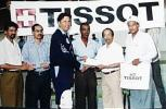 Hanif Mohammad at the Tissot Cuo match, 28 Sep 1999, PIA v PNSC giving an award