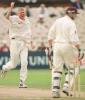 Peter Martin celebrates getting out Burns, PPP healthcare County Championship Division One, 2000, Lancashire v Somerset, Old Trafford, Manchester, 08-10 September 2000 (Day 3).