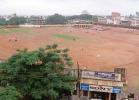 A splendid view of the Nehru Stadium from across the road