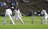 Essex debutant Sharif cuts a ball past keeper Blakey, Scarborough 14th Sep 2001