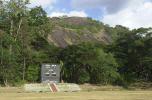 The main scoreboard with spectacular backdrop at the Welagedara Stadium in Sri Lanka