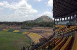 A view of the Rangiri Dambulla mountain from the main stand of the Rangiri Dambulla stadium in Sri Lanka