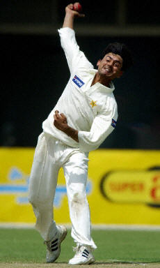 Saqlain Mushtaq delivers a ball