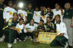 A jubilant Pakistani team with the trophy, Pakistan v Bangladesh, 5th ODI, Karachi, September 21, 2003.