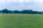 A cover fieldsman's view of the beautiful green outfield at the Polytechnic Institute ground at Agartala