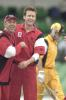 20 Oct 2000: Adam Gilchrist leaves the field for Western Australia as Darren Lehmann (l) and Brett Swain celebrate for South Australia in the Mercantile Mutual Cup match between the Western Australian Warriors and South Australian Redbacks at the WACA ground in Perth Australia. Gilchrist was dismissed caught David Fitzgerald bowled Brett Swain for18.