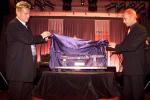 04 Oct 2001: 2000/01 NSW winning captain Shane Lee (left) and Colin Miller unveil the new ING Cup trophy at the ING Cup 10th Anniversary Dinner Dance held at the Hotel Inter-Continental in Sydney, Australia.