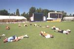 6 Dec 1999: Prime Ministers XI, cricket team stretches during training in preparation for the match tomorrow between India and the Prime Ministers X1 at Manuka Oval Canberra, Canberra, Australia.