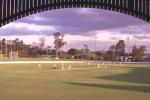 18 Oct 2001: General view of play from the pavilion during afternoon play between New Zealand and the Queensland XI at the Allan Border Field, Brisbane, Australia.