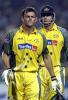 Adam Gilchrist and Matthew Hayden walk onto the field, India v Australia, TVS Cup, Gwalior, October 26 2003