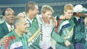 South African Players and Officials (from left to right) Goolam Rajah, SK Reddy, Hansie Cronje, Andrew Hudson, Shaun Pollock and Fanie de Villiers celebrate their victory in the Wills Quadrangular Tournament Final, 8th November 1997.
