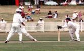 Phil Emery stumps Geoff Foley during the Sheffield Shield match between NSW and Queensland at Newcastle. 16th Nov 1997