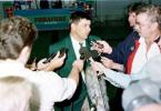 Manager Alan Jordaan speaks with the local press on arrival at Perth International Airport. Friday November 21st 1997.