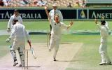 Simon Cook celebrates his fifth wicket on debut as Shayne O'Connor walks, caught Taylor... Australia v New Zealand 2nd Test, Day Four, at the WACA, Perth, Thursday November 23rd 1997