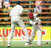 Stuart Williams plays defensively Cronje is the fielder West Indies in South Africa, 1998/99, 1st Test  South Africa v West Indies  The Wanderers, Johannesburg  26 November 1998