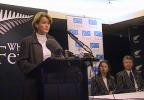Convenor of selectors Lesley Murdoch speaks at the naming of the New Zealand women's team to contest the CricInfo Women's World Cup 2000