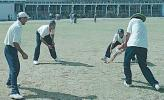 Rakesh Patel giving catch practice to Sodhi, Doru and Gambhir, (National Cricket Academy XI team), Zimbabwe in India, Nehru Stadium Indore, 07 November 2000