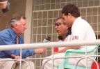 Ian Chappel interviewing Geakwad and Tendulkar. India in Bangladesh 2000/01, Only Test, Bangladesh v India, Bangabandhu National Stadium, Dhaka, 10-14 Nov 2000 (Day 3)