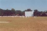 Mansoor Ali Khan in action from the police quarters end, Ranji Trophy South Zone League, 2000/01, Karnataka v Andhra, Union Gymkhana Ground, Belgaum, 15-18 November 2000 (Day 1).