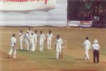 Andhra team celebrating Dharmichand's dismissal