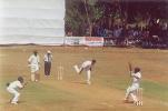 LNP Reddy pulls a delivery from Ganesh, Ranji Trophy South Zone League, 2000/01, Karnataka v Andhra, Union Gymkhana Ground, Belgaum, 15-18 November 2000 (Day 2).