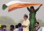 An Indian supporter waves the Indian tricolour, Zimbabwe in India, 2000/01, 1st Test, India v Zimbabwe, Feroz Shah Kotla, Delhi, 18-22 November 2000 (Day 5).