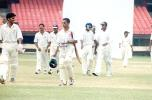 ND Kambli and RP Rane leave the field along with Kerala players after the match ended. Ranji Trophy South Zone League, 2000/01, Kerala v Goa, Nehru Stadium, Kochi, 15-18 November 2000.