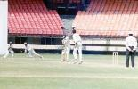 Wicket Keeper Kamaruddin tries to stop the ball as S Medappa plays to T Yohannan, Ranji Trophy South Zone League, 2000/01, Kerala v Goa, Nehru Stadium, Kochi, 15-18 November 2000.