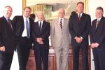 2 Nov 2001: Allan Border, Martin Crowe, Bill Brown, Walter Hadlee,Jeremy Coney and Glenn Turner pose for a photo together at the Captains luncheon to celebrate 55 years of Australia v New Zealand cricket at the Sheraton Hotel in Brisbane, Australia. Allan Border and Bill Brown are former captains of Australia and Martin Crowe, Walter Hadley, Jeremy Coney and Glenn Turner are former captains of New Zealand.