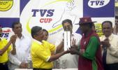 West Indies captain Carl Hooper receives the TVS cup following his side's win