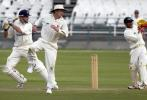Neil Johnson square drives a ball against North West at Newlands on Friday